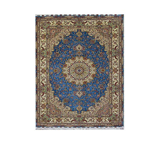 6'x9′ Elegant Handmade Persian Silk Carpet, Hand Knotted Area Rug, Handwoven Tapestry, Traditional Geometric Carpet for…