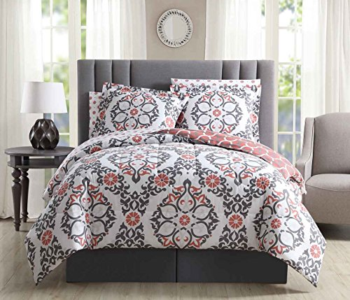 8 Piece Shakti Coral/Gray/White Reversible Comforter Set King (Bedding And Coral Gray)