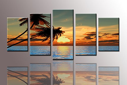 Youkuart-ks6057canvas-Prints-Picture-Sensations-Framed-Huge-5-panel-Tropical-Palm-Tree-Sunset-Peace-Giclee-Canvas-Art