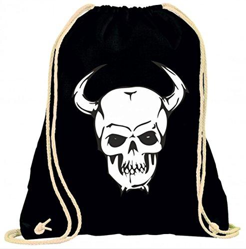 Turnbeutel Totenschädel mit Hörnern an der Seite Skelett Rocker Motorradclub Gothic Biker Skull Emo Old School mit Kordel - 100% Baumwolle- Gymbag- Rucksack- Sportbeutel Schwarz