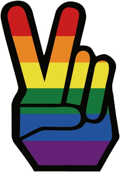 Pack of 2 ZELIN Rainbow Peace Sign Hand Gesture /& Dog Paw Shaped Vinyl Decal Car Stickers LGBT Gay Pride
