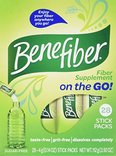 Benefiber Daily Prebiotic Dietary Fiber Supplement Powder Stick Packs for Digestive Health, 100% Natural, On The Go, Clear and Taste-Free, 28 sticks, 3.92 ounces each