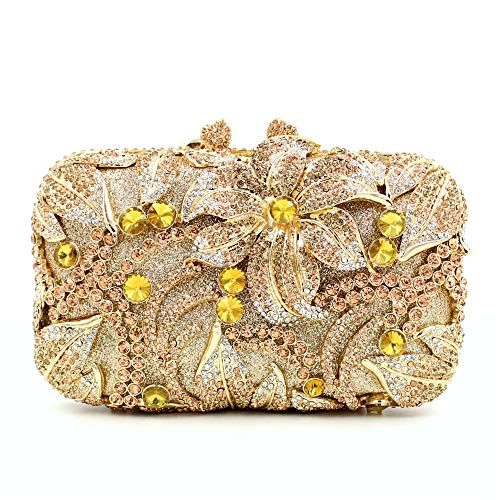 Luxury rhinestone bag openwork metal bag crystal dinner bag set diamond ladies clutch bag cosmetic bag handbag gold length 17.5cm height 11cm thickness 6cm