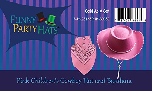 bc8702423775f Pink Cowgirl Hat - Cowboy Hat and Bandanna - Cowgirl Costume - Cowboy  Accessories for Girls