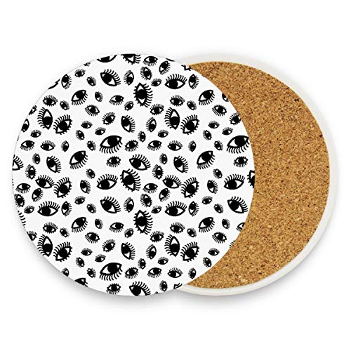 Spooky Eyes Eyelash Pattern Coasters, Protect Your Furniture from Stains,Coffee, Wood Coasters Funny Housewarming Gift,Round Cup Mat Pad for Home, Kitchen or Bar Set of -
