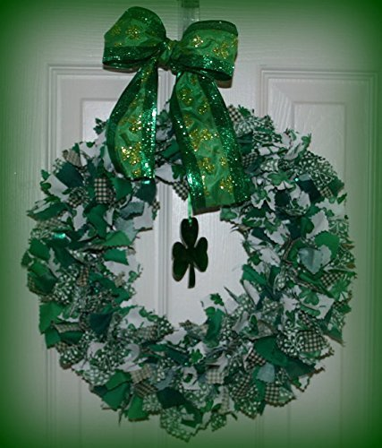 St Patricks Day rag tie fabric door wreath