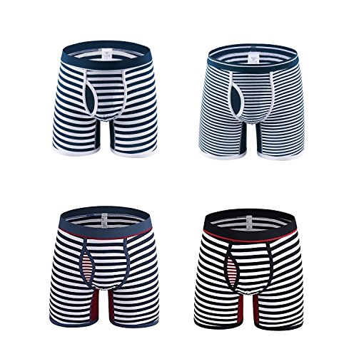 Designer Boxer Shorts (Lionchic Mens Comfortable 4-Pack Stripe Cotton Knit Boxer Briefs Open Fly Boxers Shorts Support Designer Underwear(Assorted 3,X-Large))