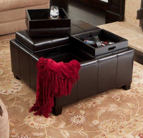 Sensational Amazon Com Mason Leather Tray Top Storage Ottoman Espresso Caraccident5 Cool Chair Designs And Ideas Caraccident5Info