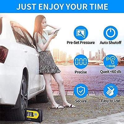 Tire Inflator, Tire Pumps for Automobiles-Portable Air Compressor 12V DC 100 PSI - Auto Shutoff- Digital Display: Automotive
