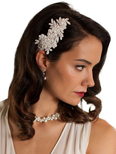 Mariell Handmade Ivory Lace Beaded Wedding Bridal Comb Headpiece with Pearls by Mariell