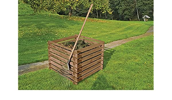Compostador de madera de Gartenwelt Riegelsberger, 90 x 90 x 70 cm de pino marrón impregnado a presión con sistema de ranuras de madera: Amazon.es: Jardín
