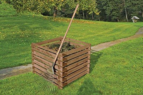 Holzkomposter 90x90xH70 cm Kiefer braun kesseldruckimprä gniert mit Holz-Stecksystem von Gartenwelt Riegelsberger