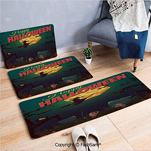 FashSam 3 Piece Flannel Doormat Happy Halloween Poster Design Witch on Broom Mushroom Dead Resurgence Vintage Decorative for Kitchen Rugs Carpet(W15.7xL23.6 by W19.6xL31.5 by W15.7xL39.4)]()