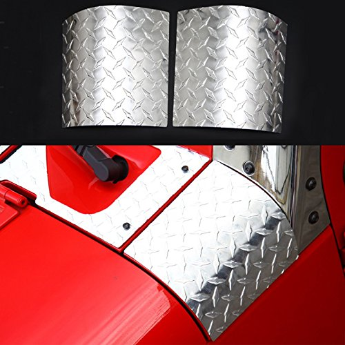 BORUIEN Aluminum Alloy Hood Armor Side Cowl Cover Hood Angle Wrap Covers for 2007-2016 Jeep Wrangler - Pair (silver) - Alloy Wrap