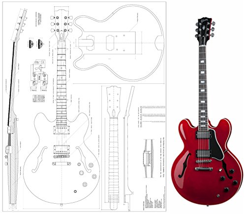 Gibson ES-335 Jazz Archtop electric Guitar Plans – Full Scale – Actual Size – detailed