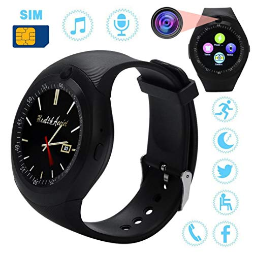 Lovewe Smart Watch,Sedentary Reminder,2018 Bluetooth Smart Watch,Phone Mate,Full Round Screen SIM Camera For Android (Black)