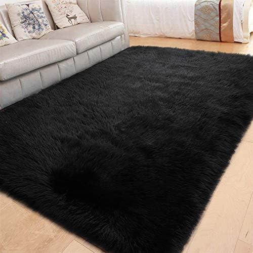 LOCHAS Ultra Soft Fluffy Rugs Faux Fur Sheepskin Area Rug