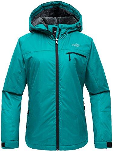 Wantdo Women's Hooded Mountain Ski Jacket Outdoor Fleece Windproof Rain Jacket Dark Moonblue US M