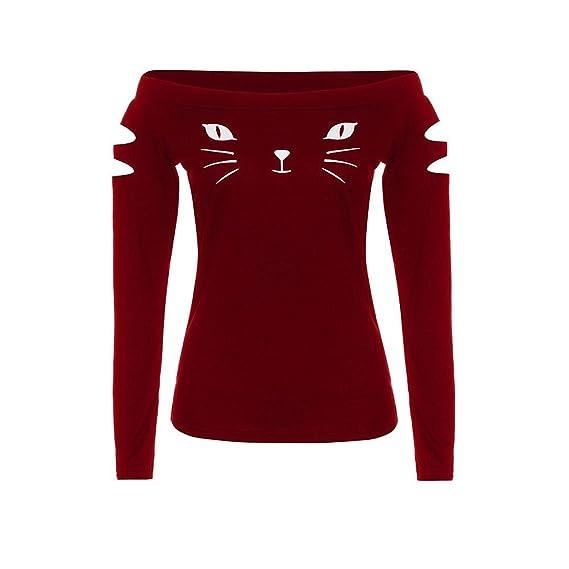 Camisa de mujer Sexy Moda Gato Fuera del hombro Suelto Casual Algodón Elegante Manga larga Tops Blusa Camiseta de mujer Sudaderas con capucha LMMVP: ...