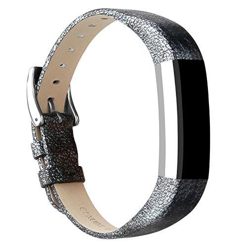 293add643670e8 for Fitbit Alta HR and Alta Bands Leather, Vancle Leather Band for Fitbit  Alta HR and Fitbit Alta Strap (Magic Silver-Leather)