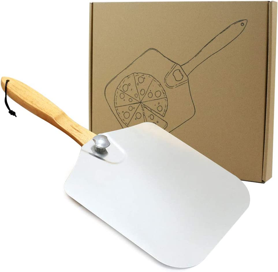 Homevibes Aluminum Pizza Peel with Wood Handle 14-Inch x 12-Inch Kitchen Supply for Baking Homemade Pizza Bread