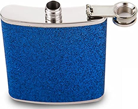 Blue 7oz Stainless Steel Hip Flask with Glitter Wrap