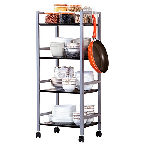 JS HOME 4-Tier Kitchen Storage Cart Multifunctional Metal Rolling Utility Cart, Chrome by JS HOME