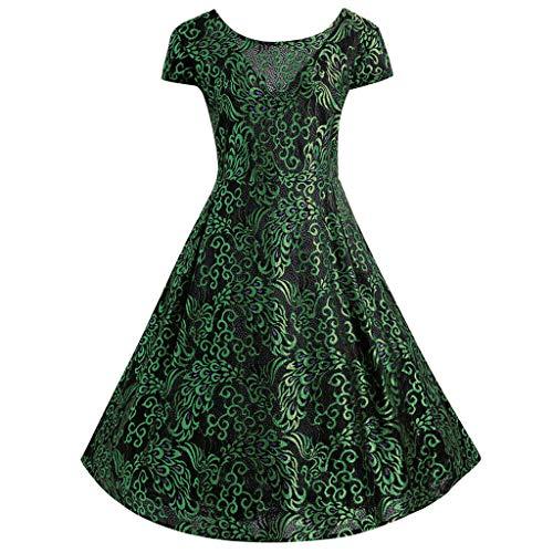 TnaIolral Women Dresses Vintage Summer Short Sleeve V-Neck Print Party Swing (XXXXXL, Green)