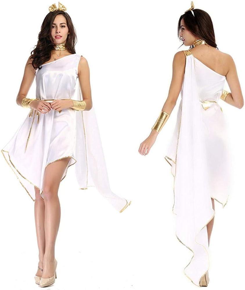 Ropa Erótica para Mujer Disfraz De Diosa Griega Antigua Sexy para Mujer Disfraz De Princesa Romana para Adultos Fiesta De Carnaval De Halloween Vestido De Lujo Irregular Suelto Blanco