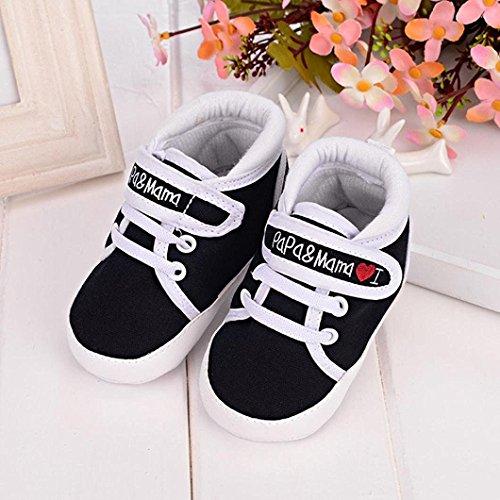 Auxma Niedlich Kind Baby Säugling Junge Mädchen weiche Sohle Kleinkind Schuhe Leinwand Sneak (6-12 Monat, Blau) Schwarz