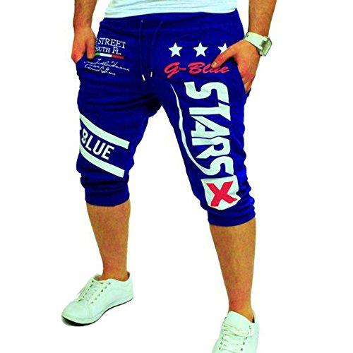 Fashion New Men's Casual Shorts 3/4 Jogger Capri Pants Printing Below Knee Sports Pants with Drawstring Elastic Waist