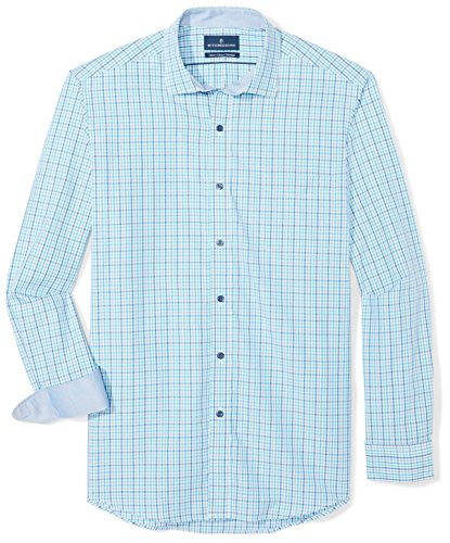 BUTTONED DOWN Men's Classic Fit Supima Cotton Spread-Collar Dress Casual Shirt, Blue/Teal Check, 16-16.5