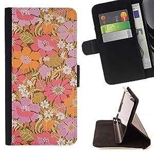 Flores púrpuras en colores pastel Wallpaper- Modelo colorido cuero de la carpeta del tirón del caso cubierta piel Holster Funda protecció Para Apple (5.5 inches!!!) iPhone 6+ Plus / 6S+ Plus