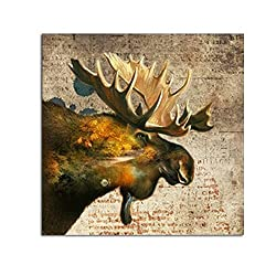 Wonvatu Art 100% Hand Paintings Abstract Moose Picture Forests Landscape Oil Painting on Canvas Wall Art With Framed for Living Room and Home Decorations