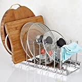 Multifunction Stainless Steel Adjustable 6-Compartment Pan Pot Organizer Rack Kitchen Cabinet Pot Lid Organizer Storage Rack