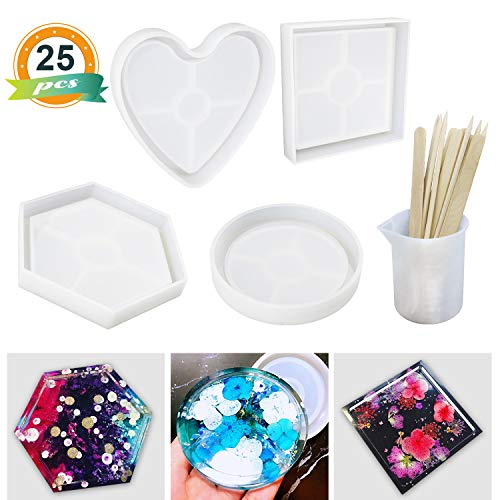 4Pcs Coaster Molds, LET'S RESIN Resin Silicone Molds, Silicone Molds for Coasters, Candle Holders, Flower Pot Holders, Bowl Mat, etc, including Round, Square, Hexagon, Heart Shape Mold