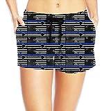 JG75BDS Hawaii Thin Blue Line Flag Women's Lightweight Boardshorts Sports Runnning Swim Trunks with Pockets