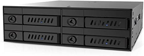 """Mediasonic 4 x 2.5/"""" SATA Hard Drive//SSD to 5.25 Drive Bay Mobile Rack Backplane Cage Hot-Swap//Removable Tray Design//Metal Construction HT21-104"""