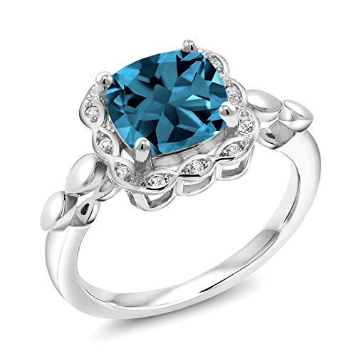 Gem Stone King 925 Sterling Silver London Blue Topaz and White Created Sapphire Women's Engagement Ring (2.84 Cttw Cushion Cut 8MM Gemstone Birthstone) (Size 6)