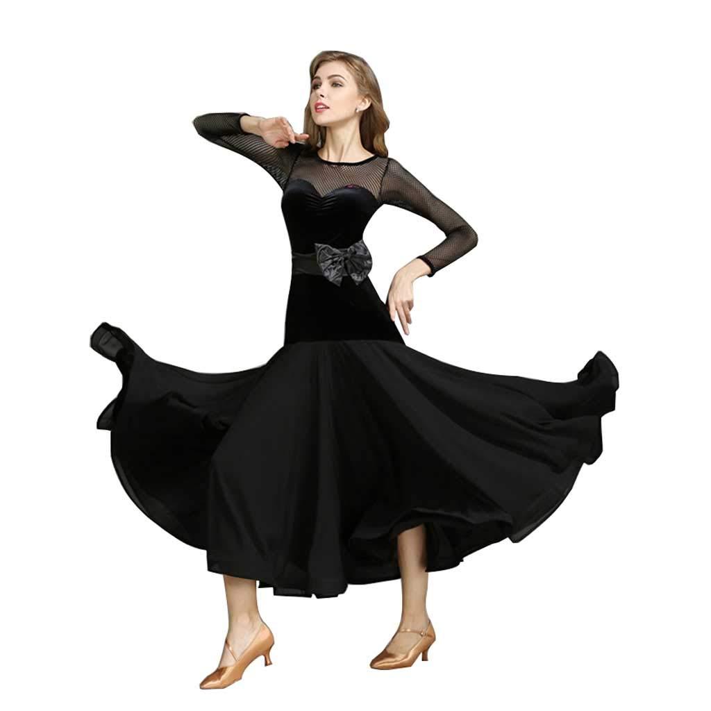 大人の女性のモダンダンスドレス、ドレスボウタイロングスリーブワルツ B07HGXFPNB XXL|ブラック ブラック XXL