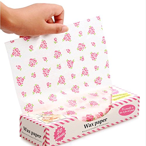 Wax Paper,Wax Paper Sheets,Greaseproof Paper,50 Sheets Waterproof Food Paper Liners/Wrapping Tissue For Plasic Food Basket By Cydnlive (Flower) - Tissue Food