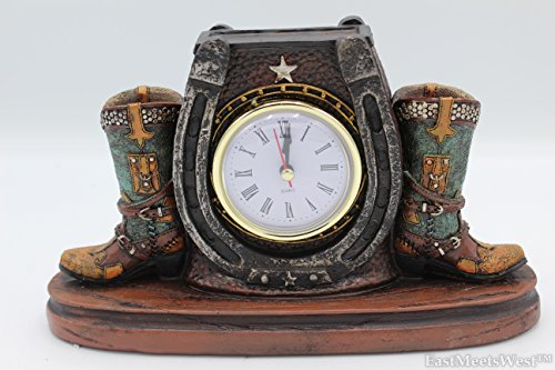 (Western Cowboy Cowgirl Rustic Double Boots Horseshoe Outline Desk Shelf Electric Clock Home Office)