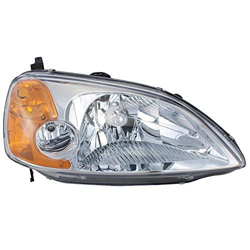 CarPartsDepot Head Light Lamp Right Hand Side HO2503116 Fit 01-03 Honda Civic 4 Door Sedan 03 Honda Civic 4 Door