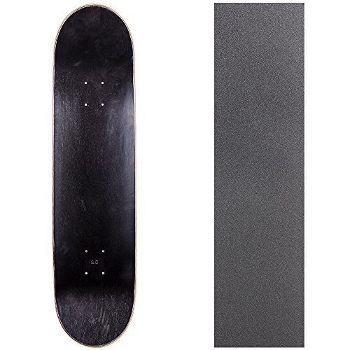 Cal 7 Blank Skateboard Deck with Grip Tape | 7.75, 8.0 and 8.25 Inch | Maple Board for Skating (8 inch, Black)