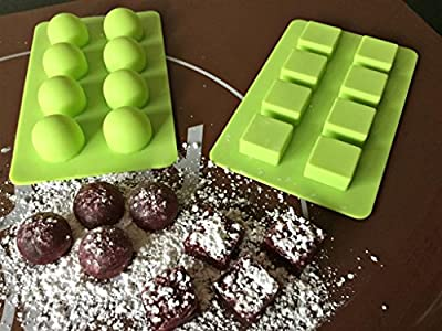 Truffly Made 16-Cavity Round & Square Chocolate Truffle, Candy Mold, Pack of 2