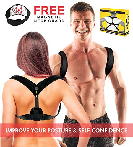 PoleStar Posture Corrector for Men or Women – Back Support Brace – Physical Therapy Braces for Neck, Shoulder and Upper Back Pain Relief – Posture Trainer – Correctors Suitable for Under Cloth