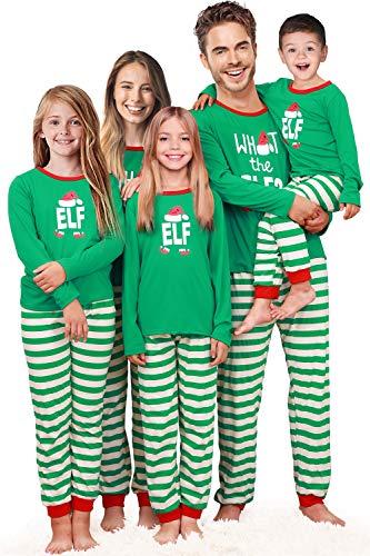Kids Elf Pajamas (Rnxrbb Holiday Christmas Pajamas Family Matching Pjs Set Xmas Jammies for Couples and Kids Green Cotton,Kid,Youth)