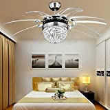 Cheap Modern Ceiling Fan Crystal Remote Control with Lights Invisible LED Fan Lights for Decorating Living Room Dining Room with Led Chandelier 42 Inch Silver