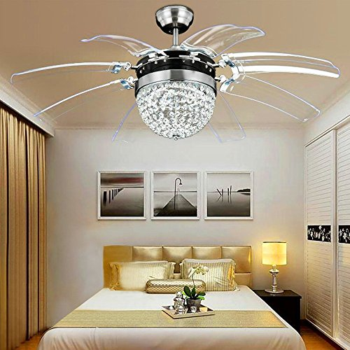 Satin Copper Classic Crystal - 42 Inch Crystal Retractable Ceiling Fan with light 5 Blade with Remote Control LED Fan Chandelier Pendant Lamp with Fan