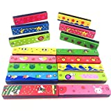 timeracing 16 Holes Double Row Wood Harmonica Musical Instruments Children Kids Educational Toy